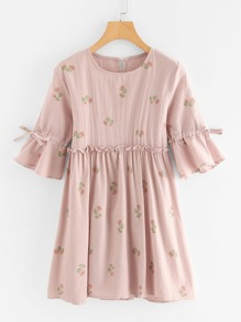 Frill Trim Floral Print Babydoll Dress