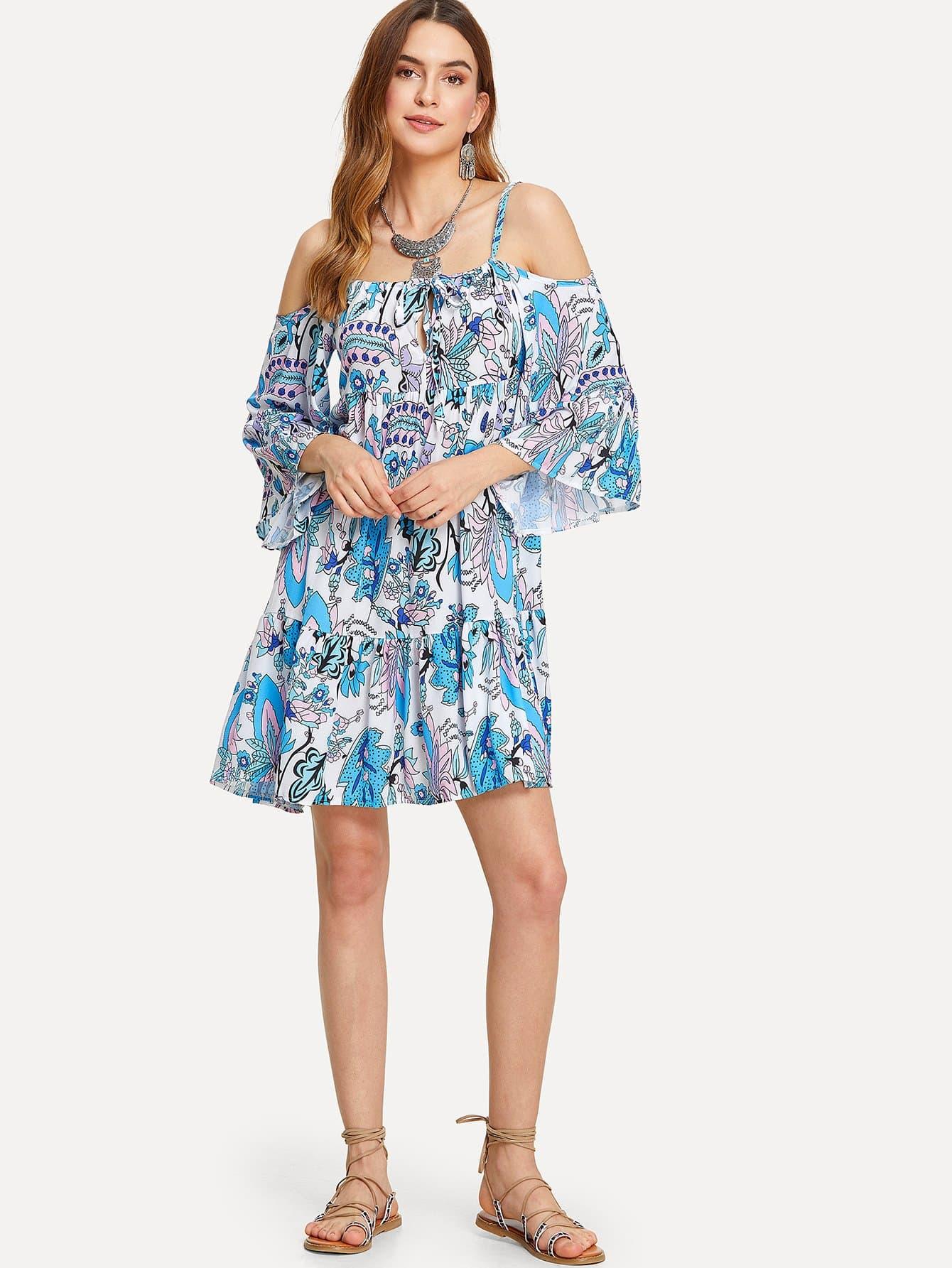 Open Shoulder Ruffle Hem Printed Dress open shoulder printed dress