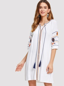 Tassel Detail Embroidered Dress