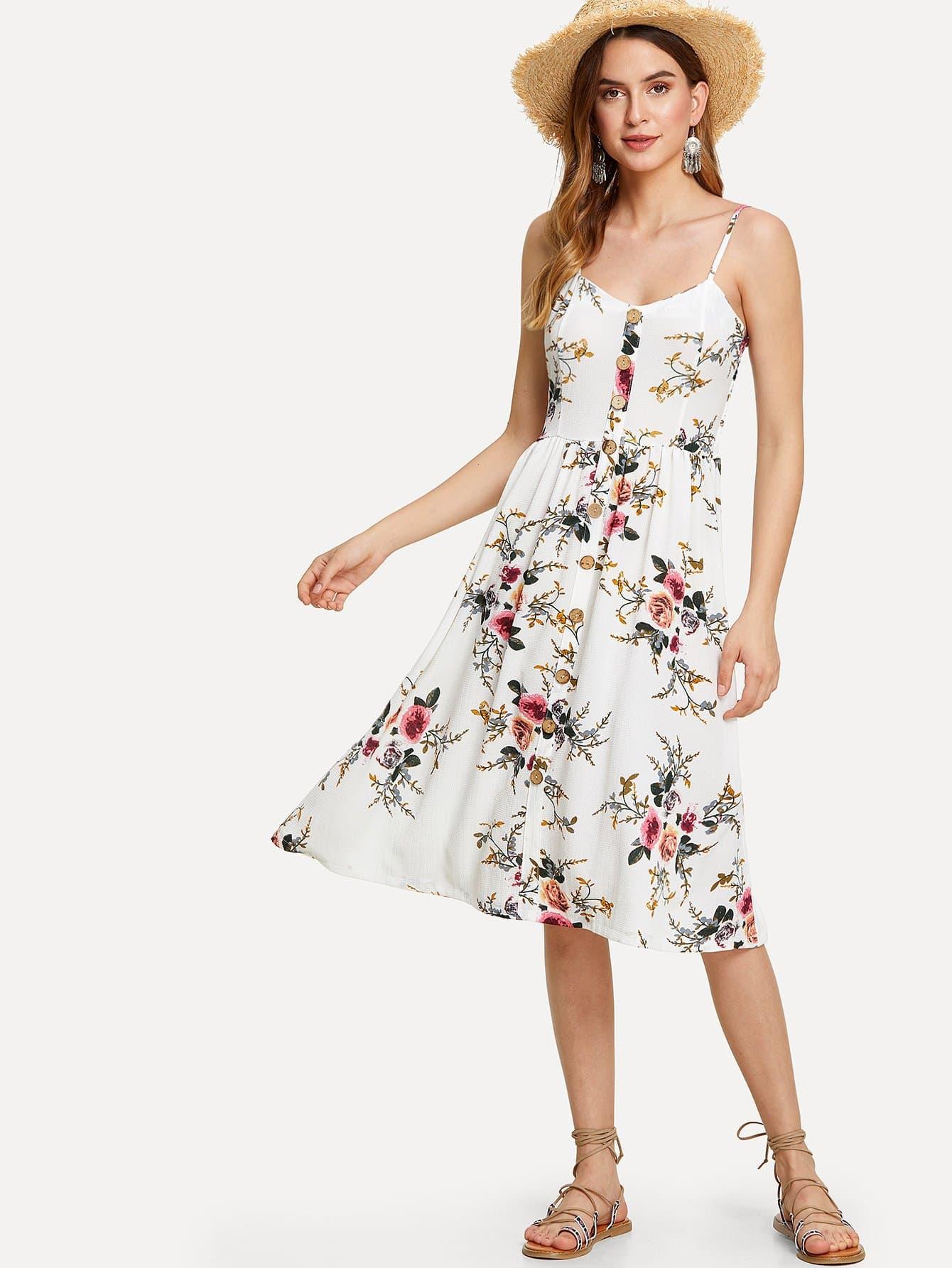 Купить Платье с пуговицами и принтом цветы, Jana, SheIn
