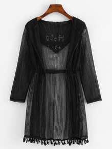 Slogan Print Tassel Hem Hooded Kimono