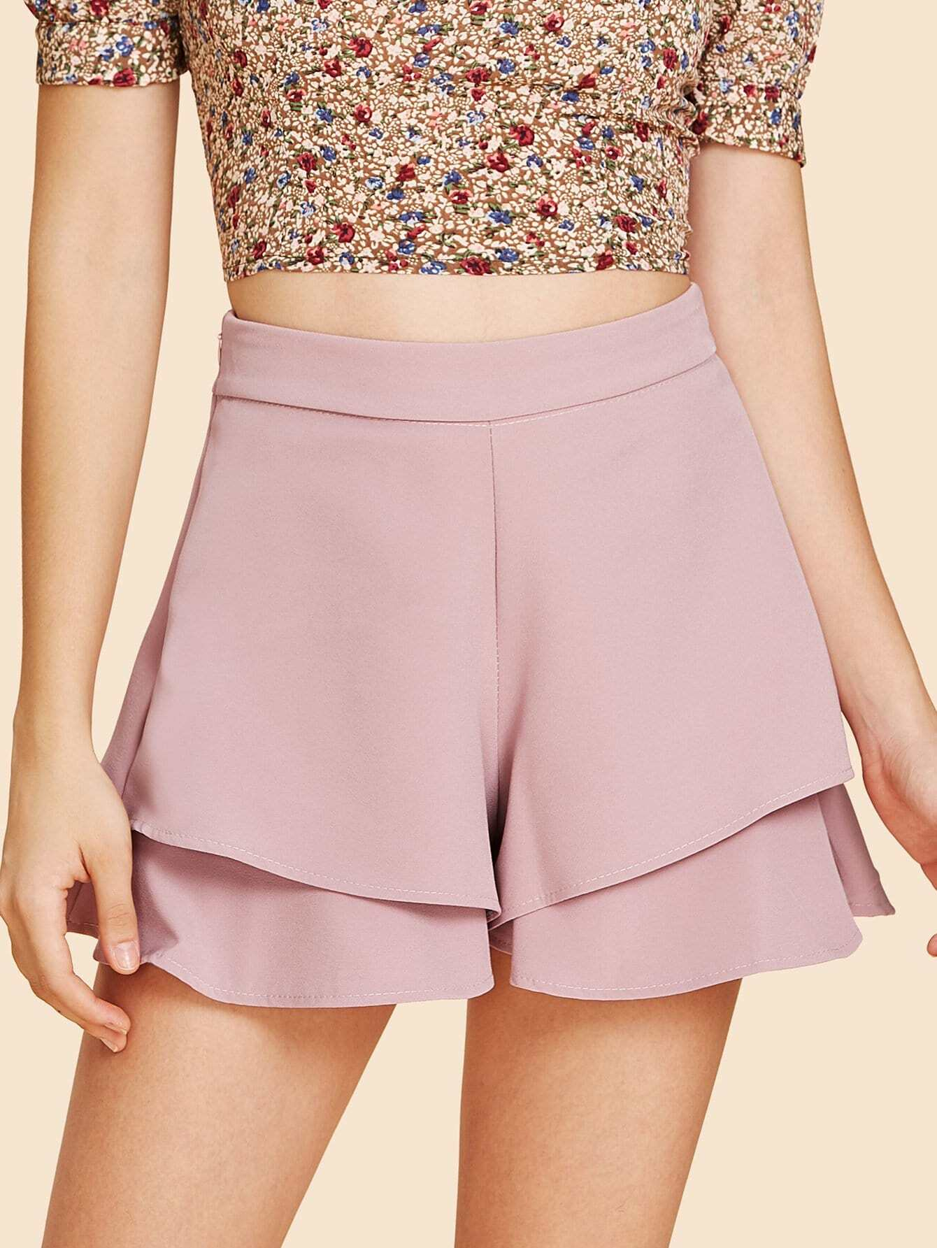 Zip Side Tiered Shorts