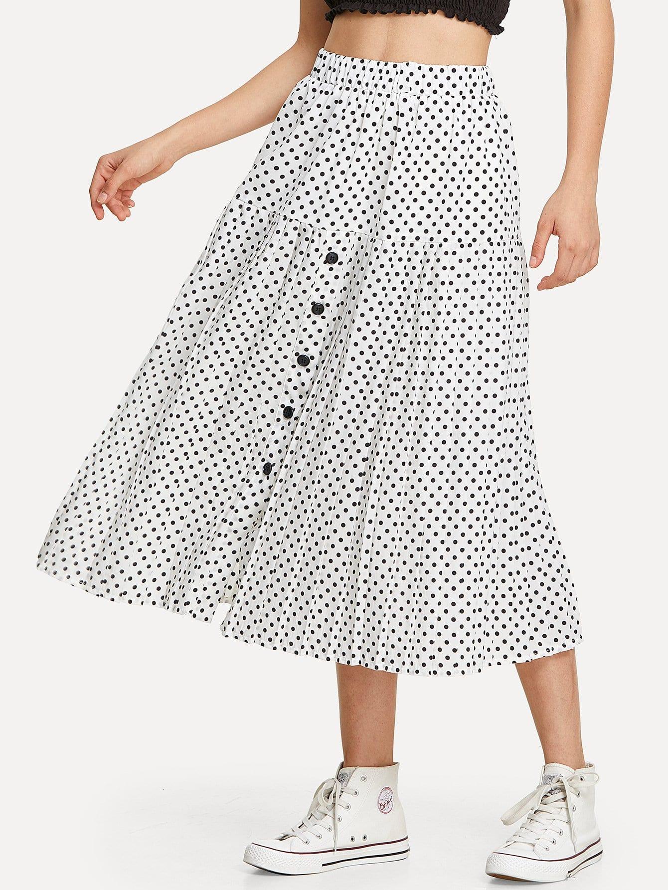 Single Breasted Polka Dot Pleated Skirt single breasted polka dot pleated skirt