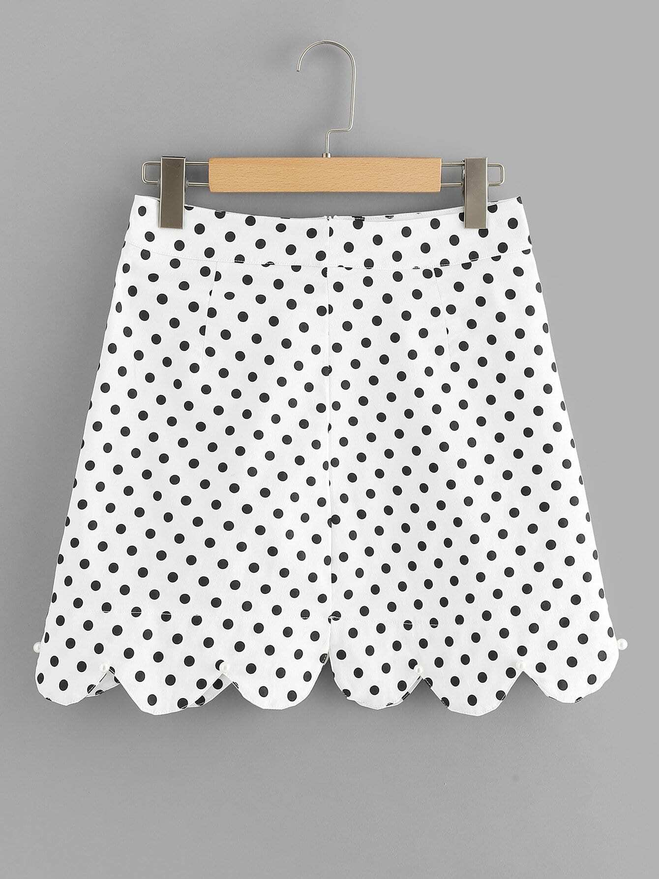 Scallop Hem Polka Dot Skirt ruffle waist zip back scallop hem embroidered gingham skirt
