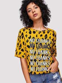 Slogan Print Split Side Leopard Tee
