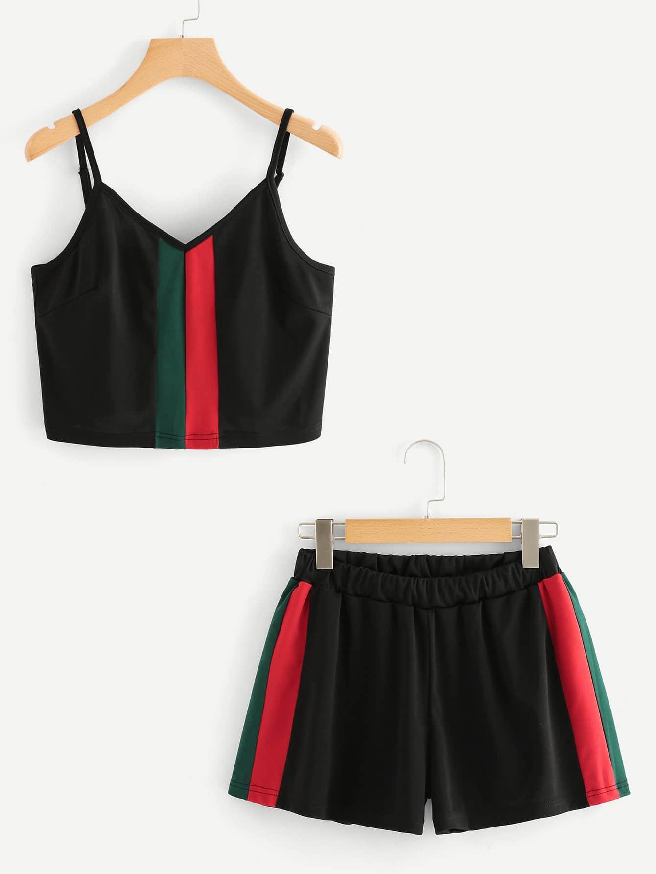 Color Block Crop Cami Top With Shorts halter neck water color crop top with ringer shorts