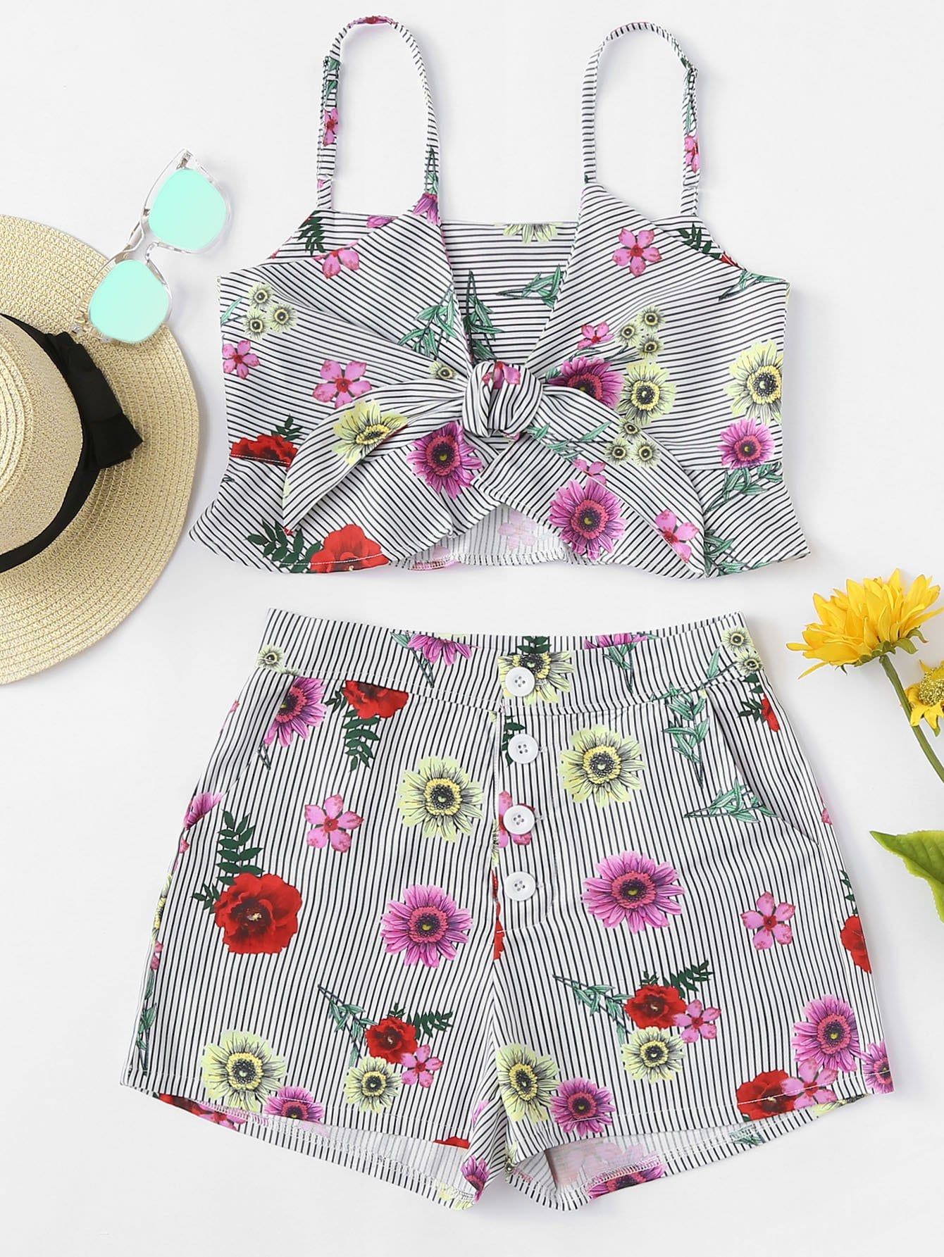 Floral Print Knot Striped Cami Top With Shorts hanky hem floral print cami tank top