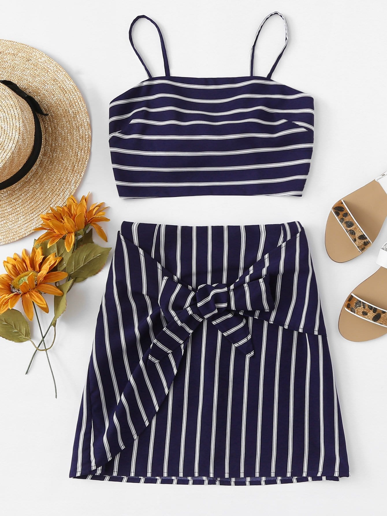 Tie Detail Striped Cami Top With Skirt obi tie outerwear with epaulet detail