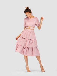 O-Ring Detail Knot Back Top With Tiered Ruffle Skirt