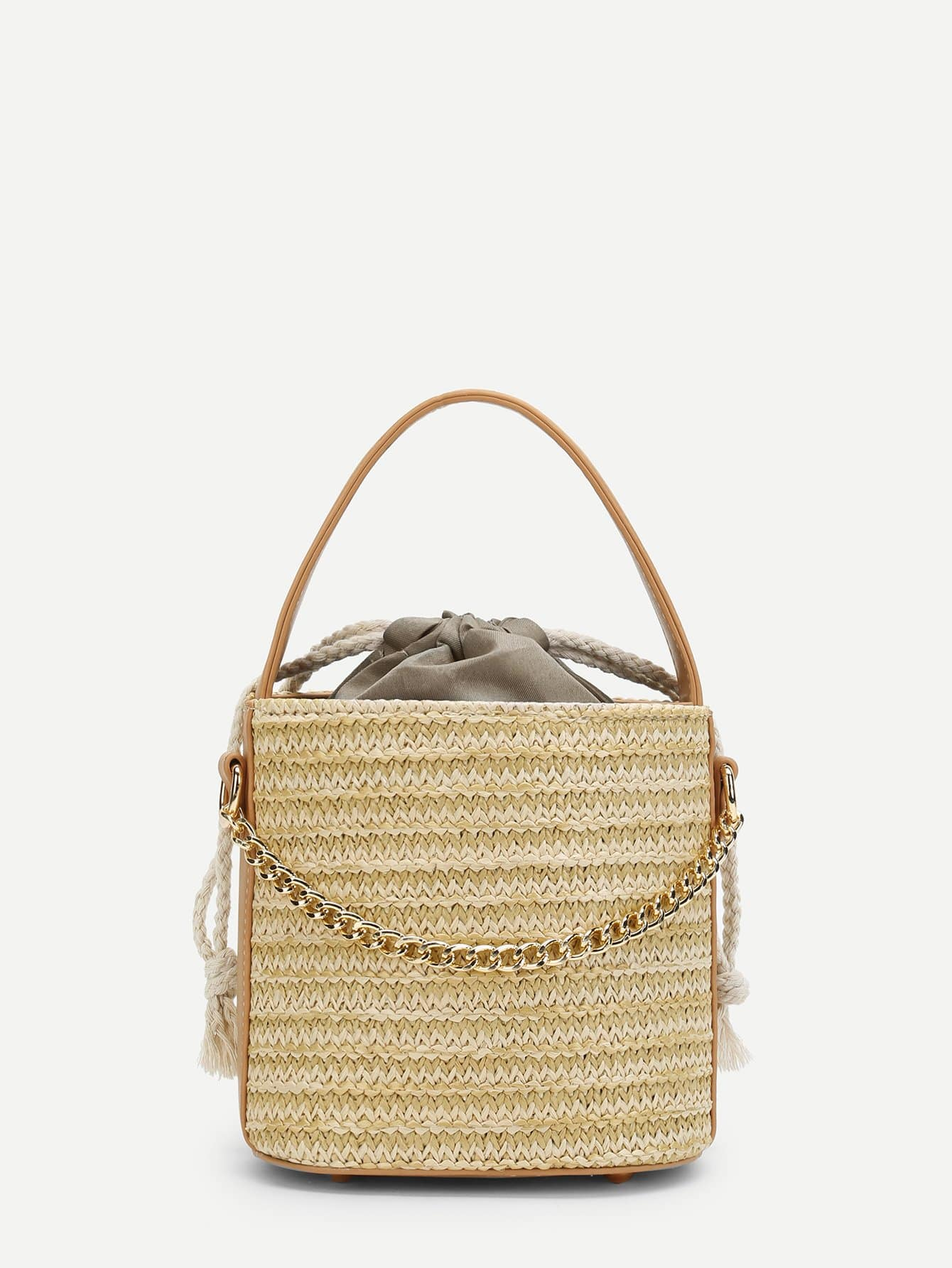 Bucket Straw Bag With Chain flounce trim straw bucket bag