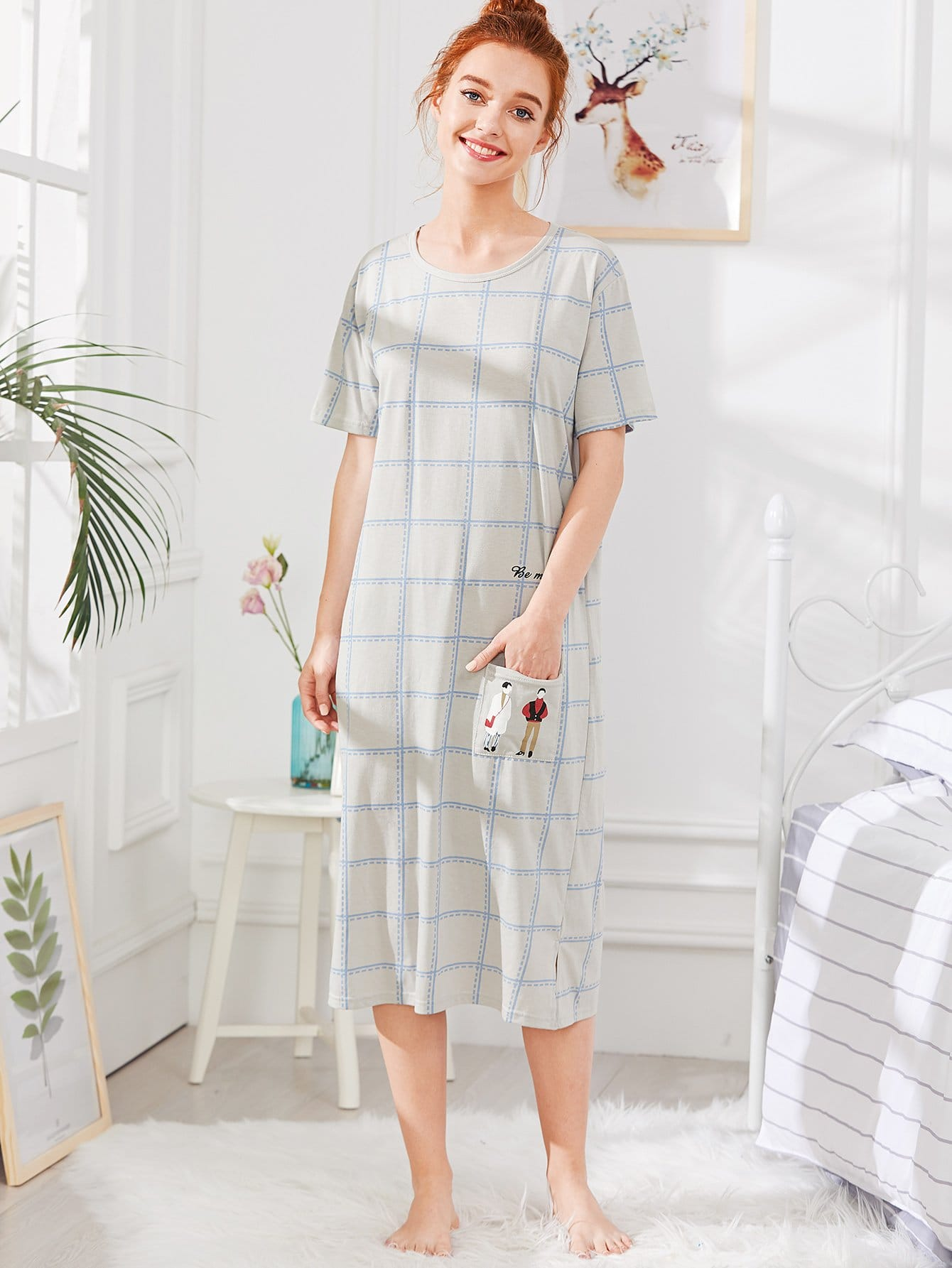 Pocket Front Checked Dress pocket front shirt dress