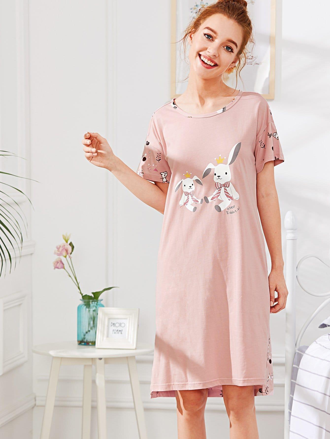 Rabbit Print Split Side Dress rabbit print pullover