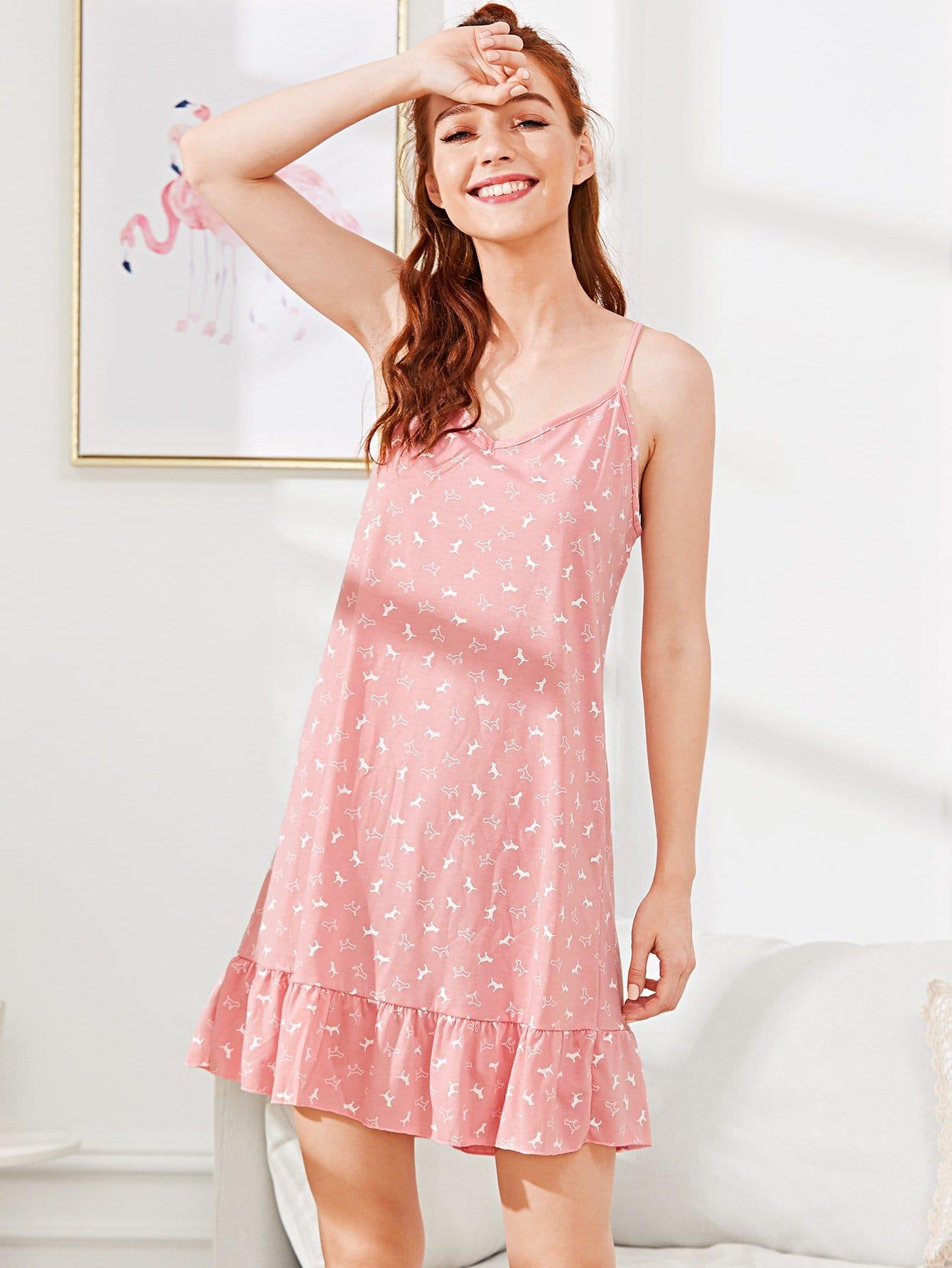 Ruffle Hem Cami Dress tied back ruffle hem tropical cami dress