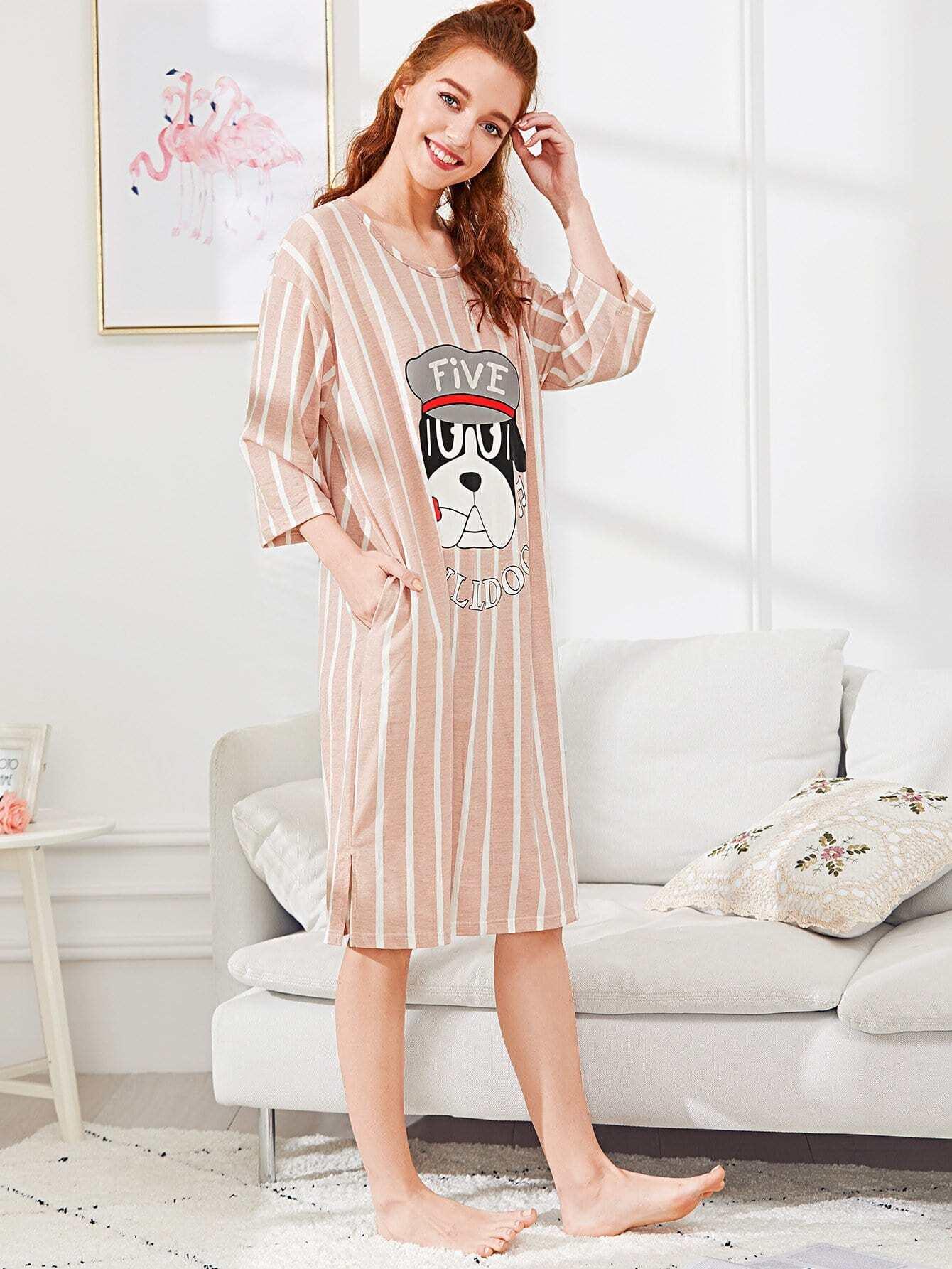 Dog Print Striped Dress