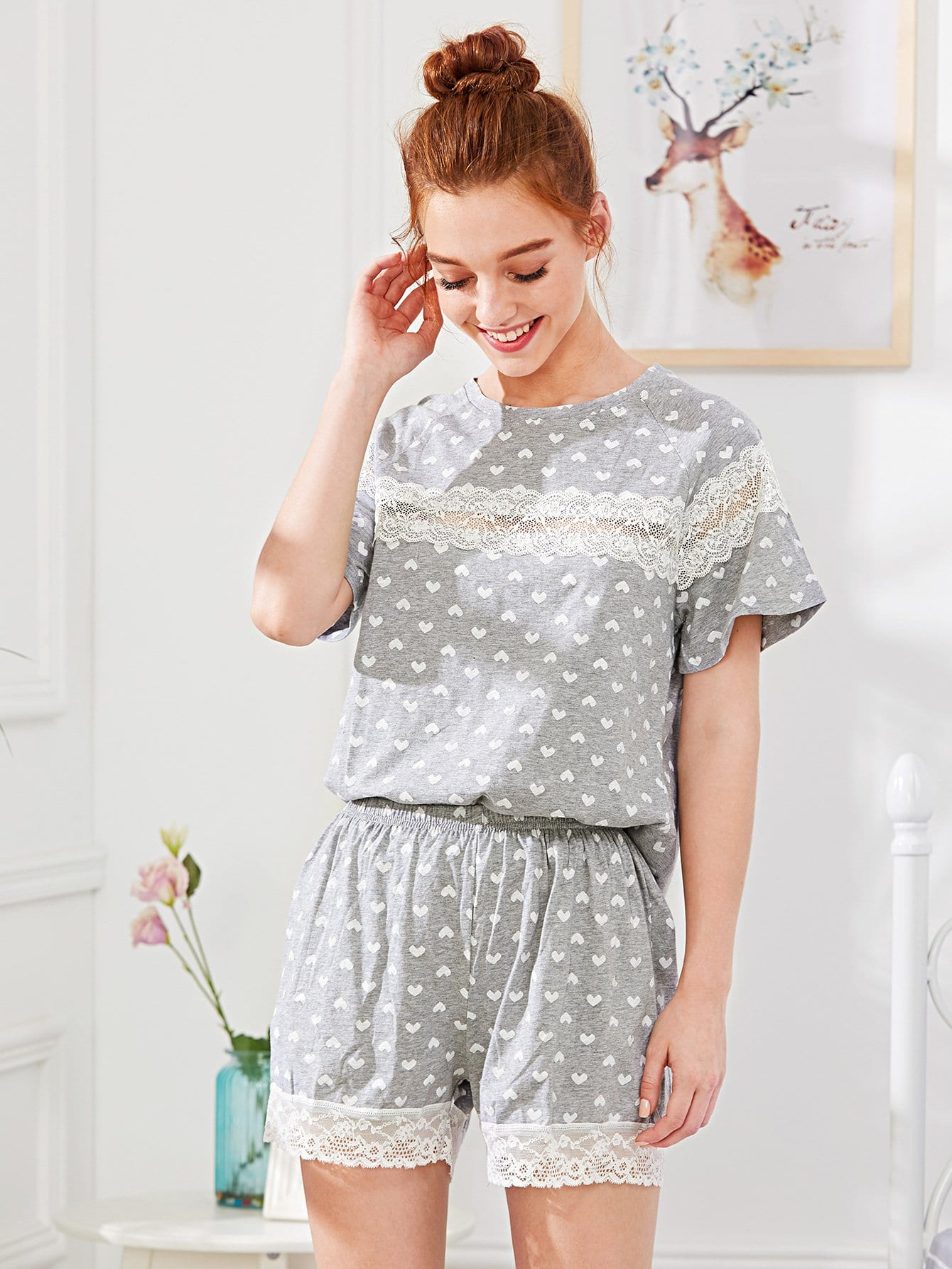 Lace Panel Heart Print Pajama Set