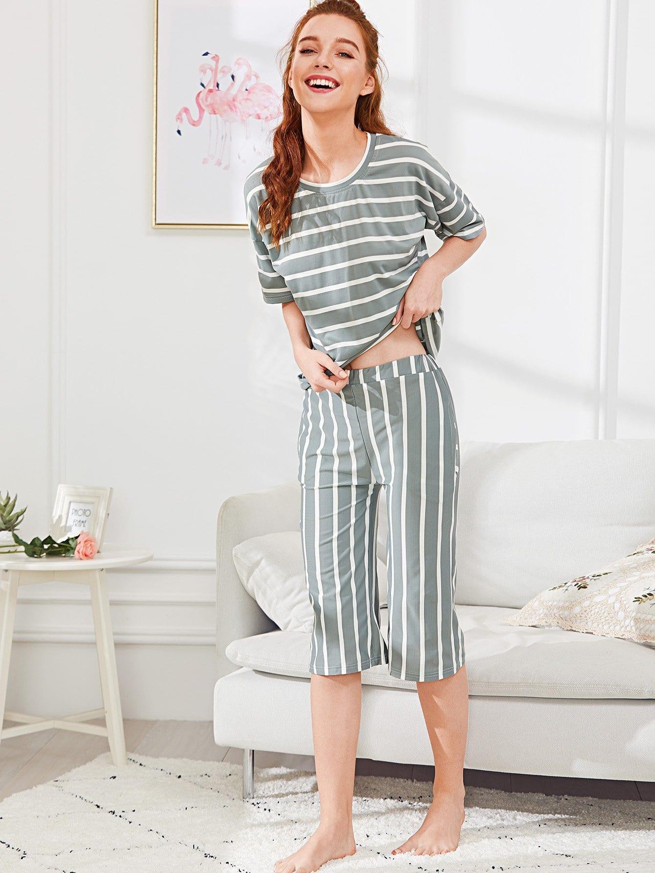 Drop Shoulder Striped Pajama Set