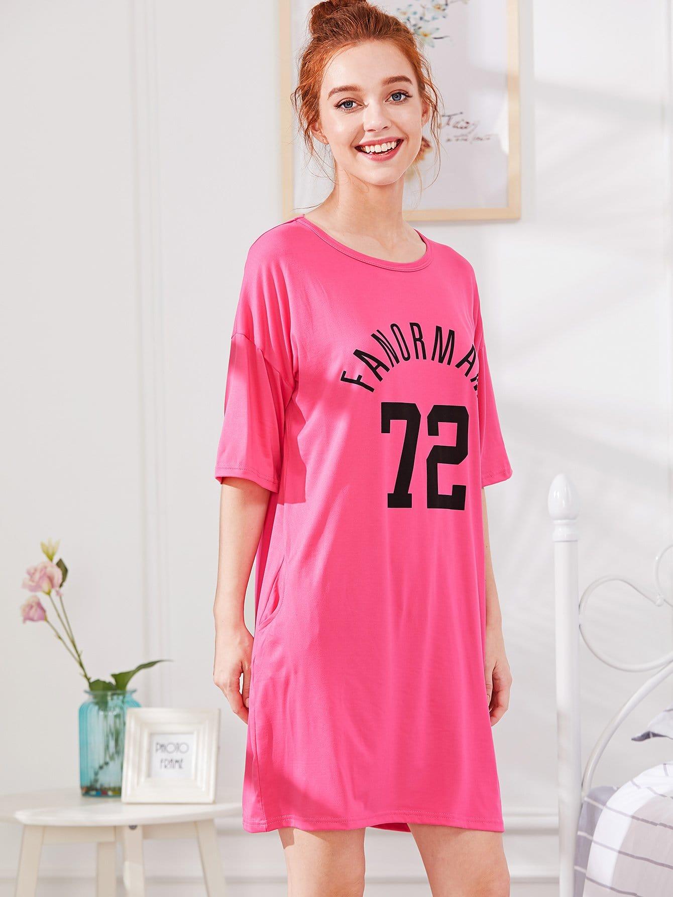 Letter & Number Print Dress