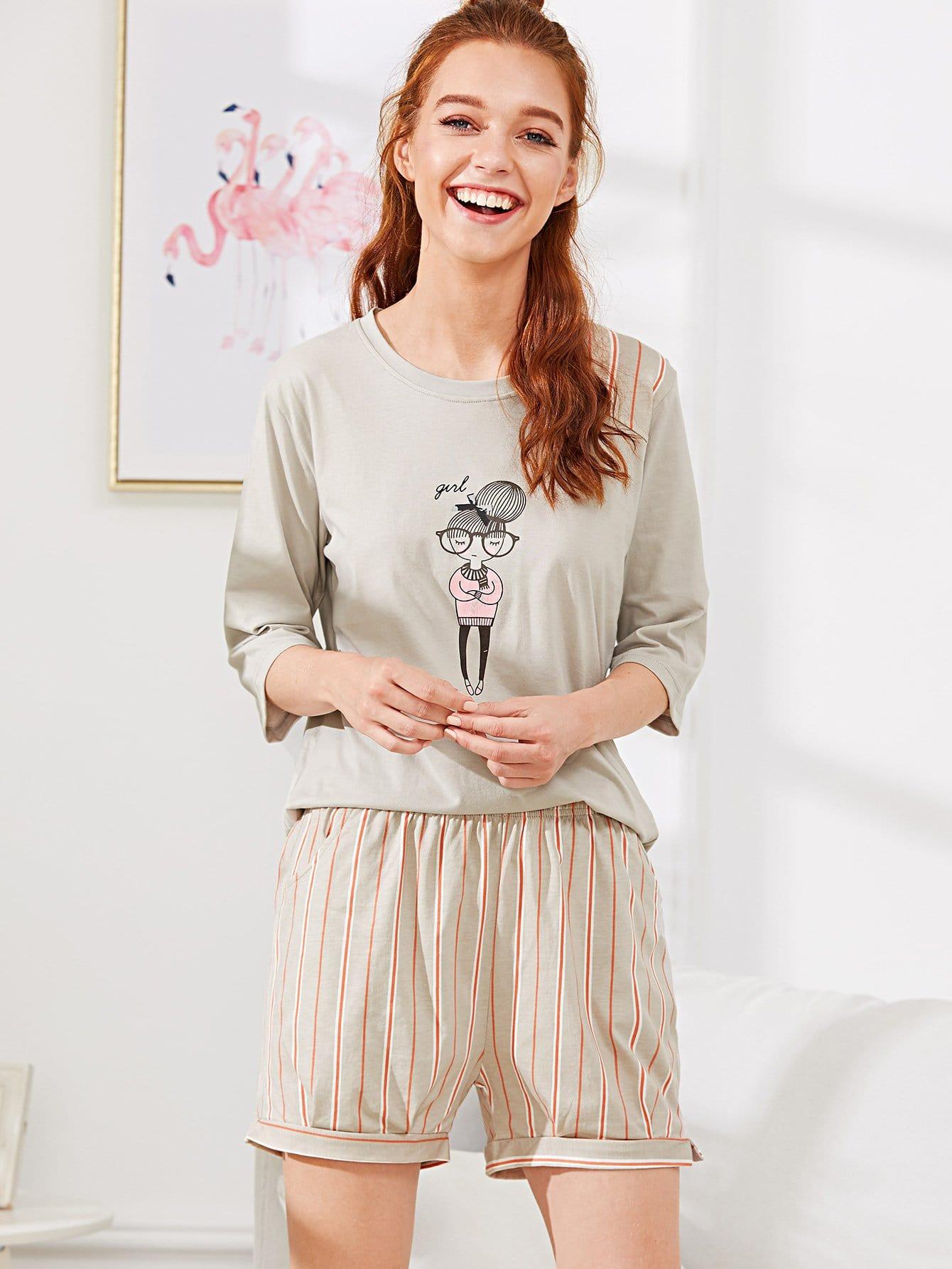 Contrast Striped Girl Print Pajama Set