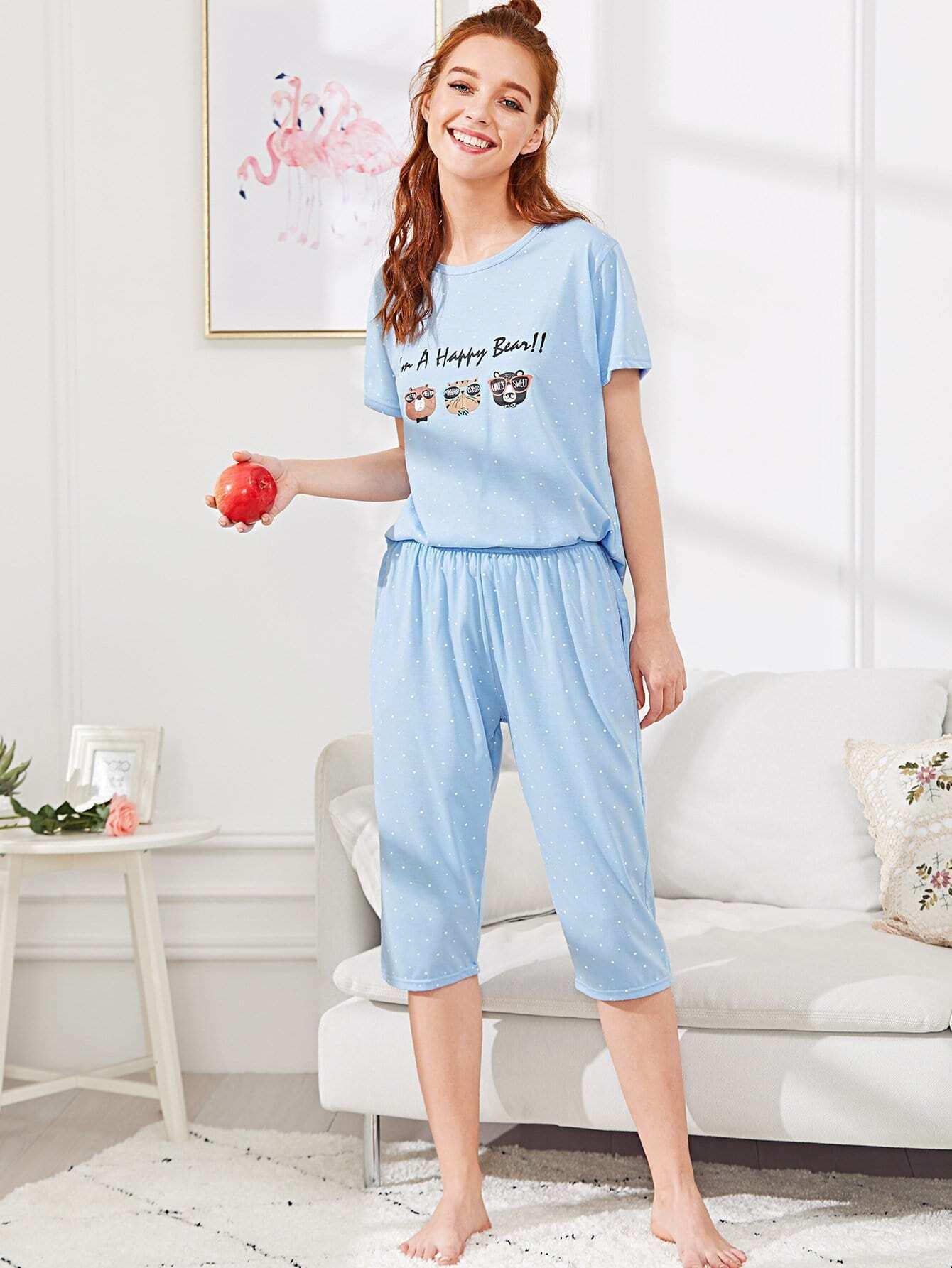 Letter & Animal Print Pajama Set