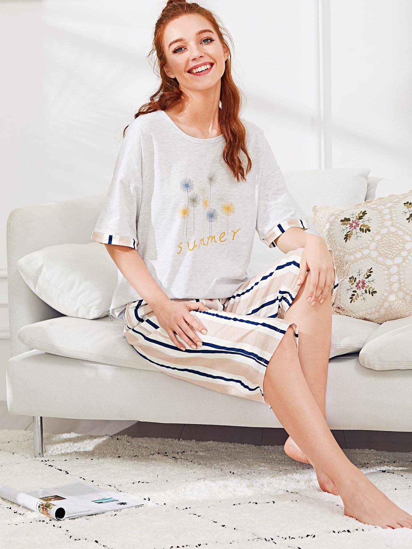 Dandelion Print Tee & Striped Pants PJ Set