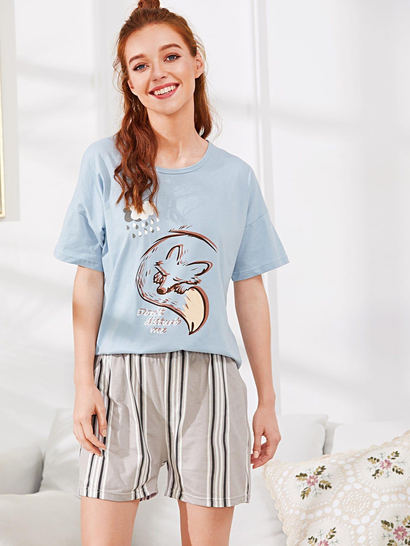 Fox Print Tee & Striped Shorts PJ Set