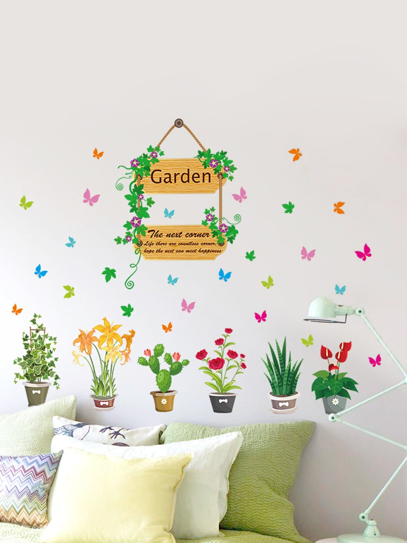 3D Vivid Garden Potted Plants Wall Sticker louis garden artificial flowers fake rose in picket fence pot pack small potted plant