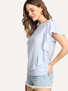 Butterfly Sleeve Zip Up Back Blouse