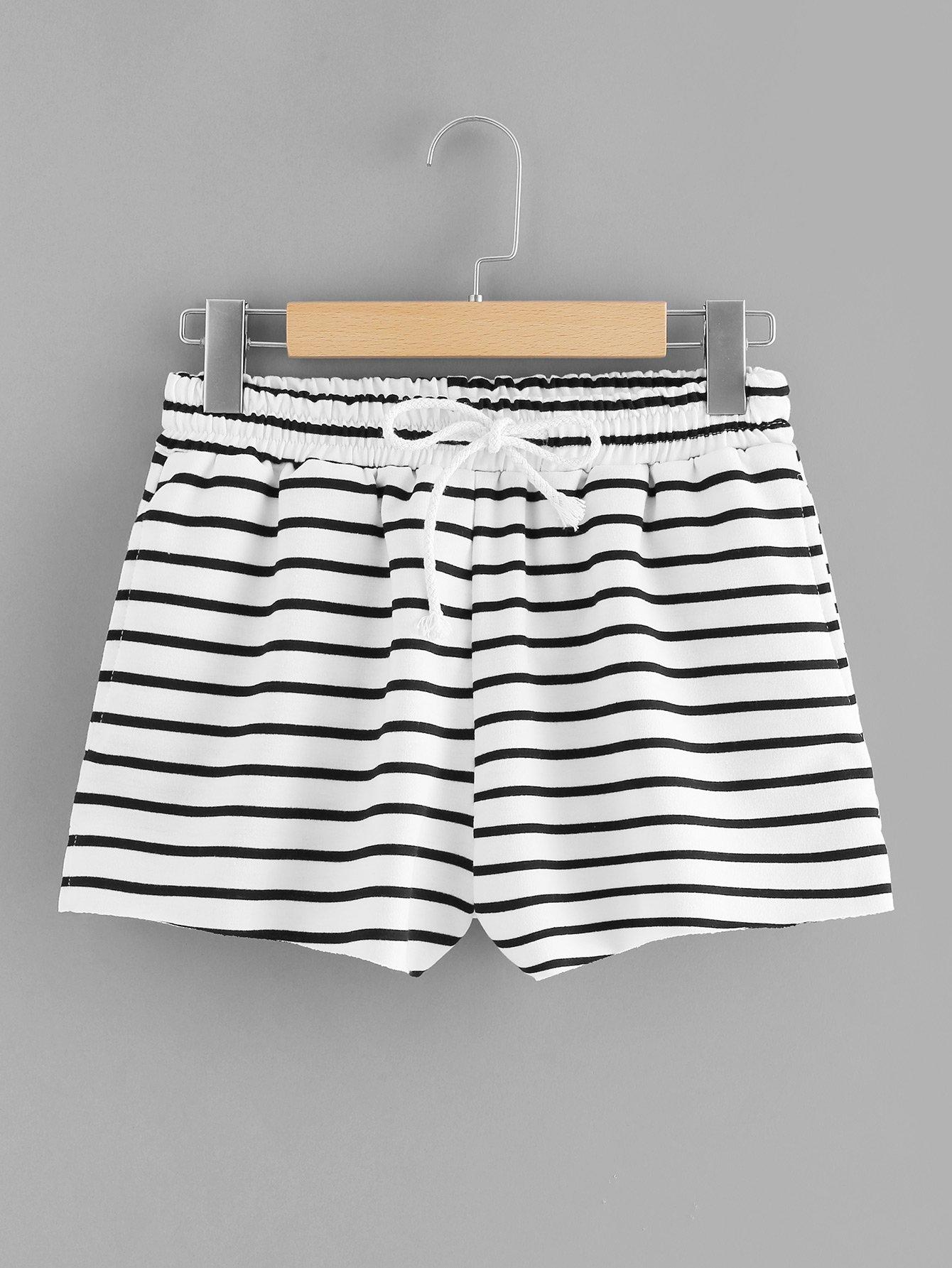 Drawstring Waist Striped Shorts drawstring waist high low striped kimono