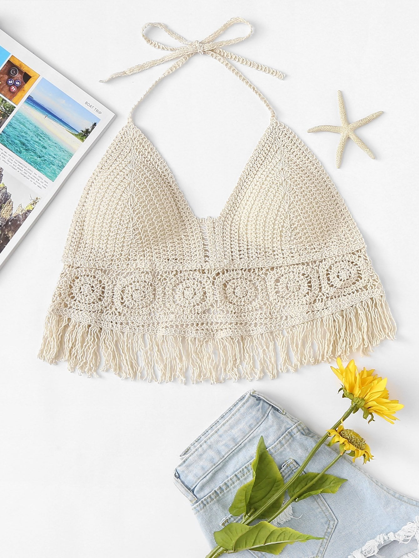 Hollow Out Fringe Hem Crocheted Halter Top chic halter butterfly pattern hollow out
