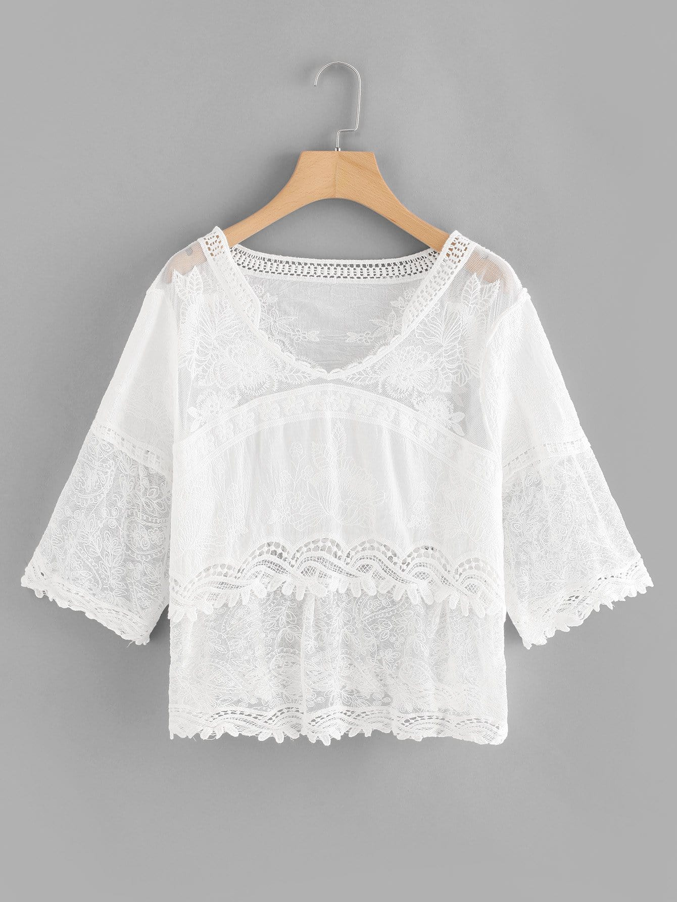 Lace Cut Out Sheer Cover Up sleeveless scalloped sheer lace tunic cover up top