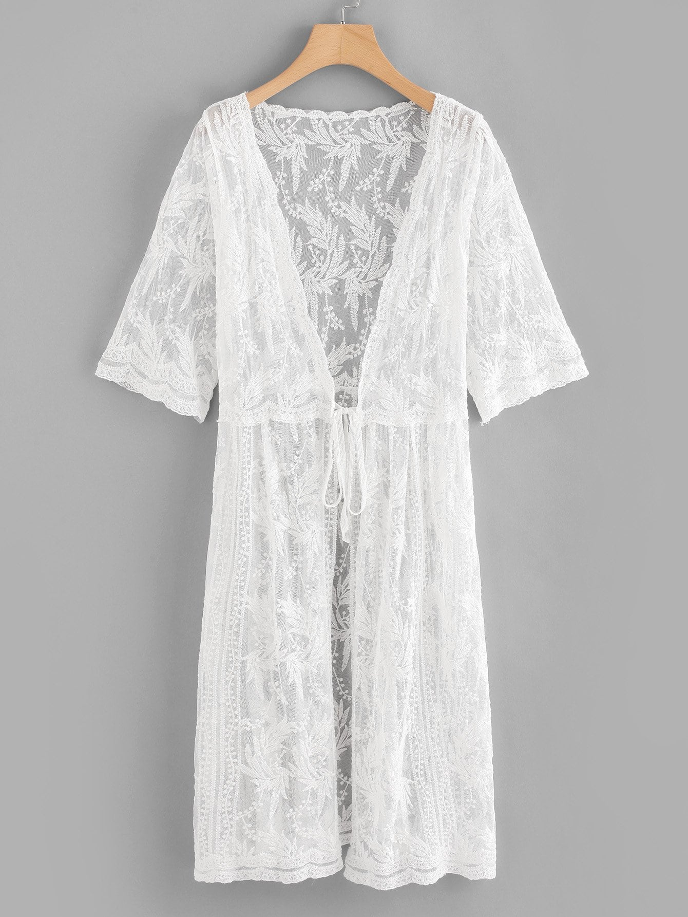Lace Embroidery Knot Front Cover Up knot front fit