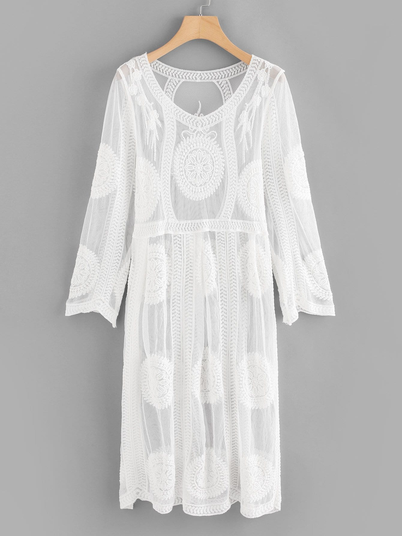 Lace V Neckline Sheer Cover Up sleeveless scalloped sheer lace tunic cover up top