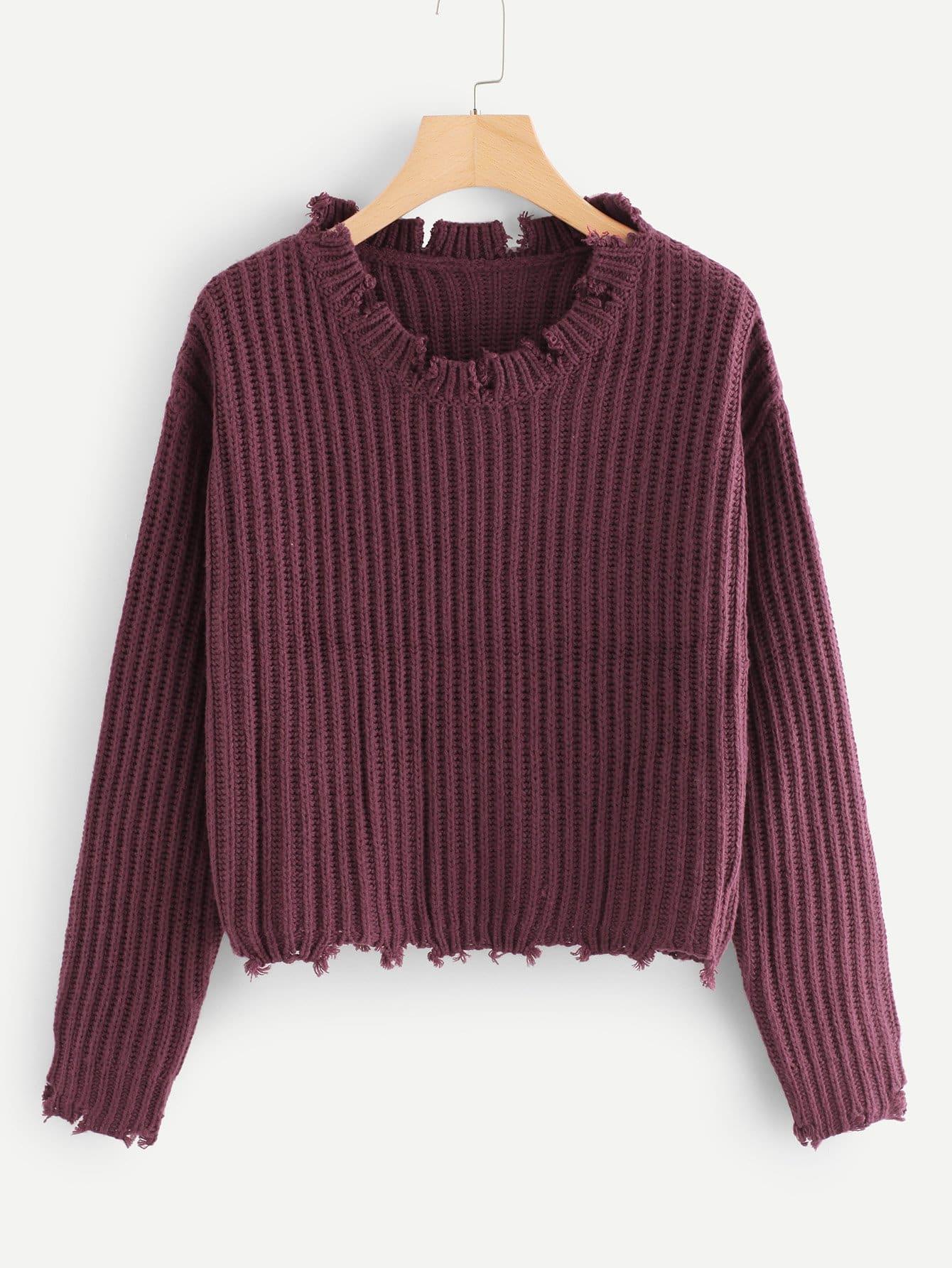 Raw Cut Rib Knit Jumper pocket front rib knit boxy jumper