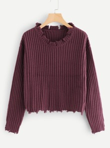Raw Cut Rib Knit Jumper