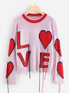 Fringe Detail Love Sweater