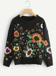 Flower Embroidered Drop Shoulder Pullover