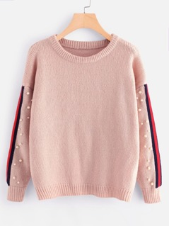 Pearl Beading Striped Sleeve Sweater