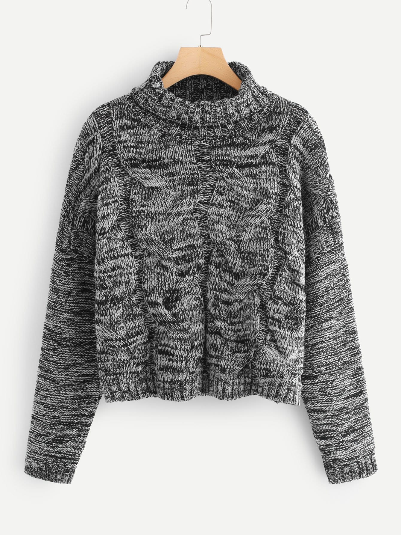 Marled Knit Cable Sweater colorblock cable knit sweater