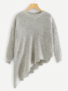Ripped Cuff Marled Knit Asymmetric Sweater