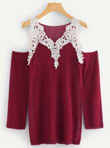 Contrast Lace Applique Soft Knit Cold Shoulder Sweater