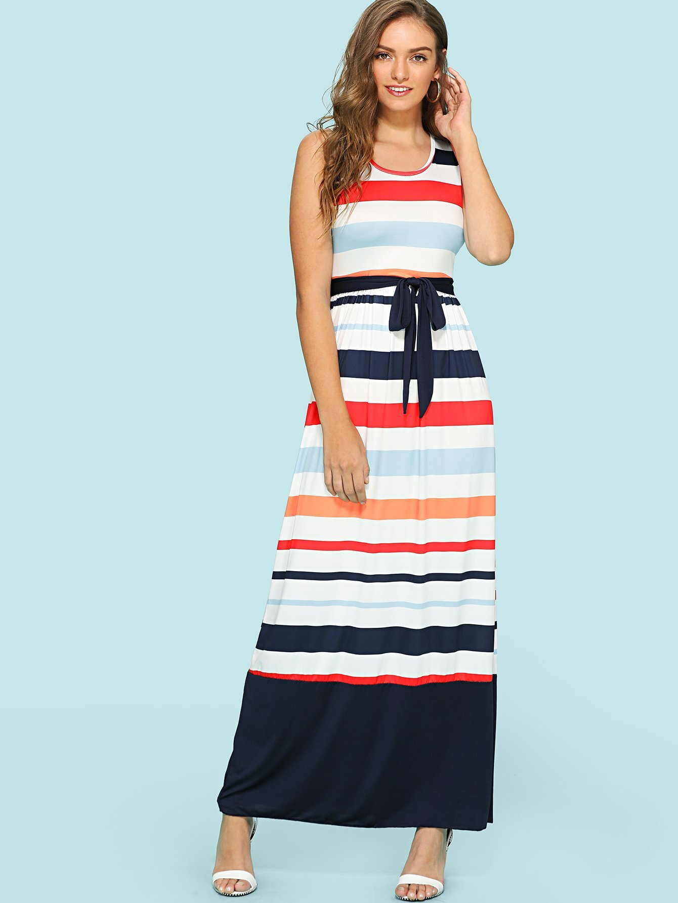 Colorblock Drawstring Waist Dress drawstring waist tank dress