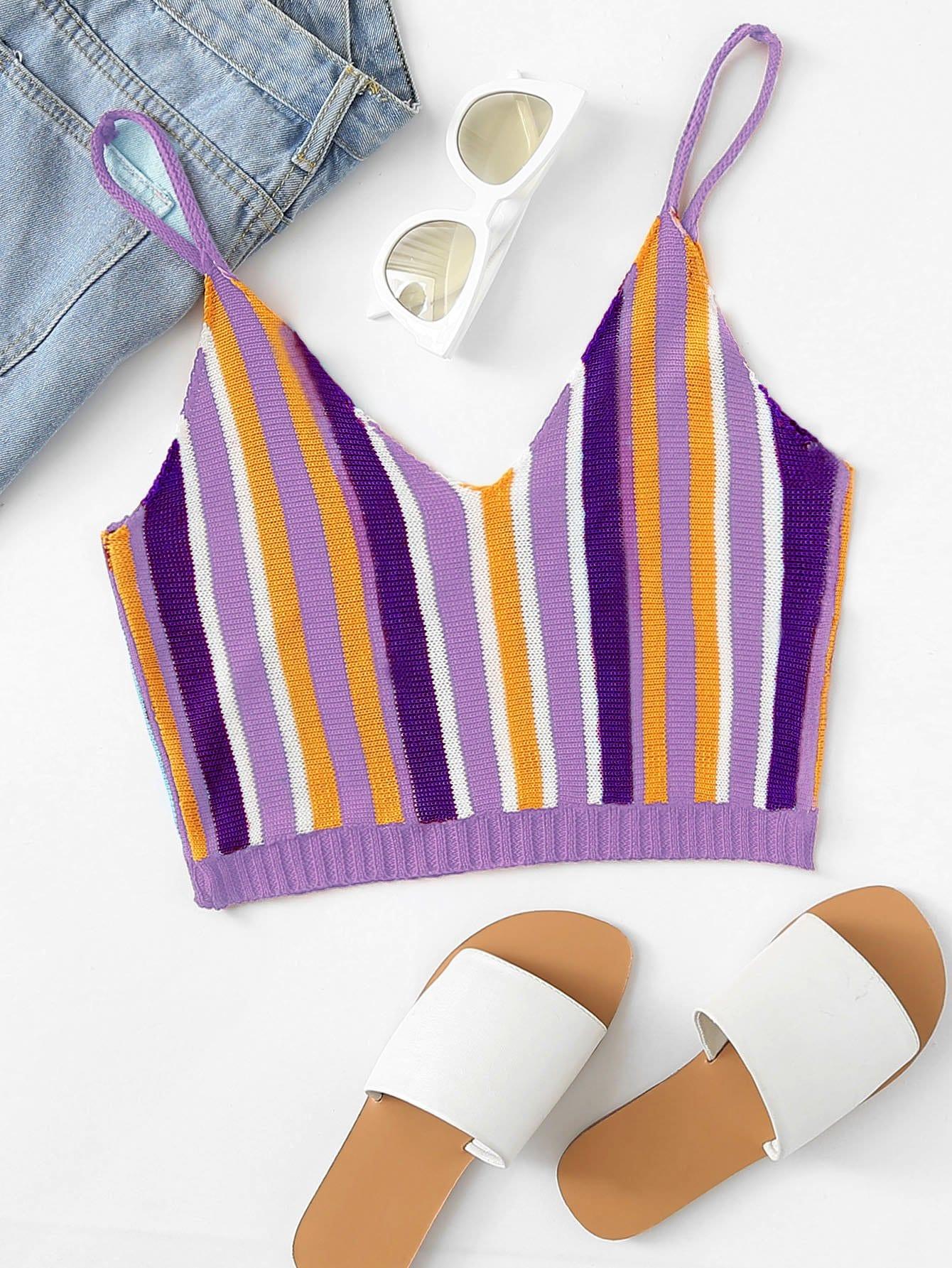 Striped Crop Knit Cami Top black choker sleeveless crop top