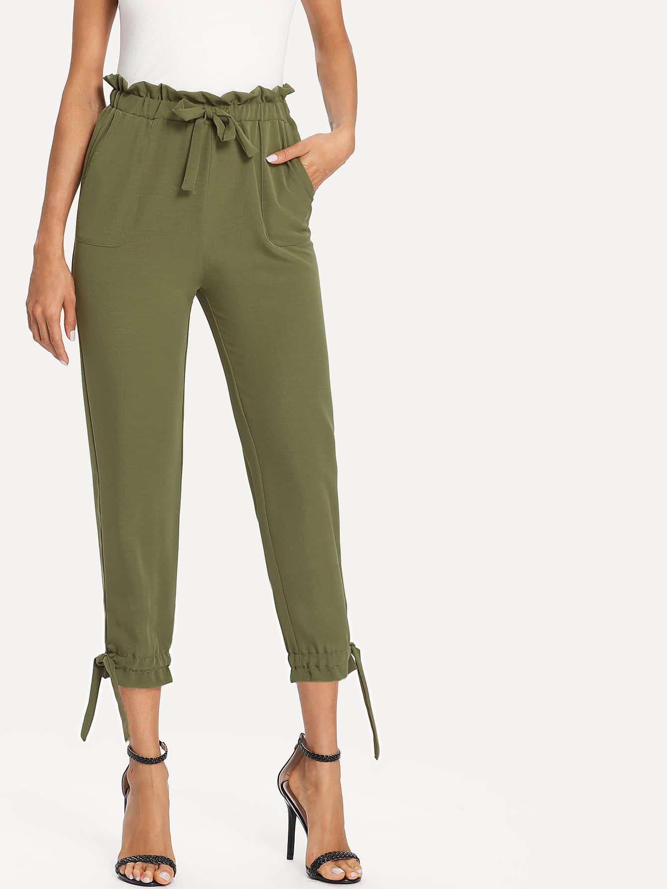 Ruffle Trim Drawstring Waist Pants ruffle waist belted peg pants