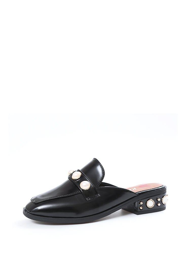 Faux Pearl Decor Square Toe Chunky Heels faux suede ruffle chunky heels mauve
