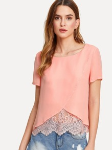Lace Trim Overlap Front Top SHEIN