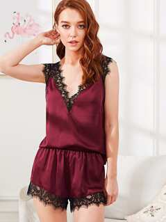 Lace Insert Double V Neck Satin Top & Shorts PJ Set