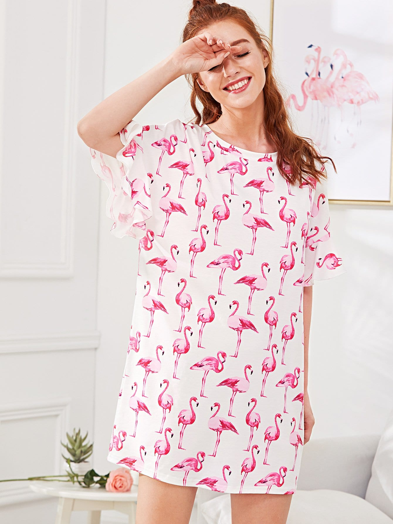 Allover Flamingo Print Ruffle Cuff Nightdress allover flamingo print tee