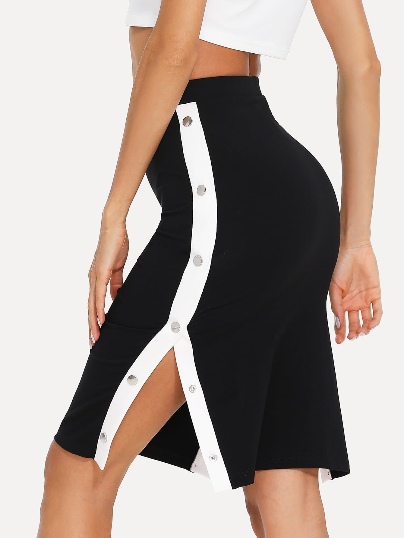Contrast Snap Button Side Bodycon Skirt snap button striped side pants