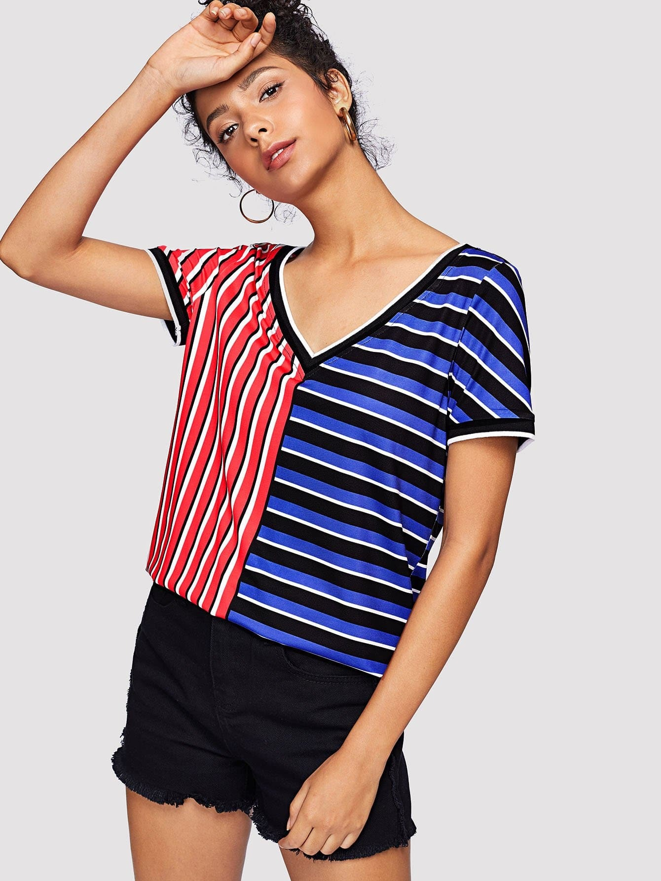 Two Tone Striped V Neck Tee notch neck two tone patch tee
