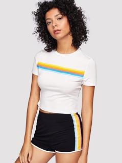 Contrast Striped Trim Crop Top & Shorts Set